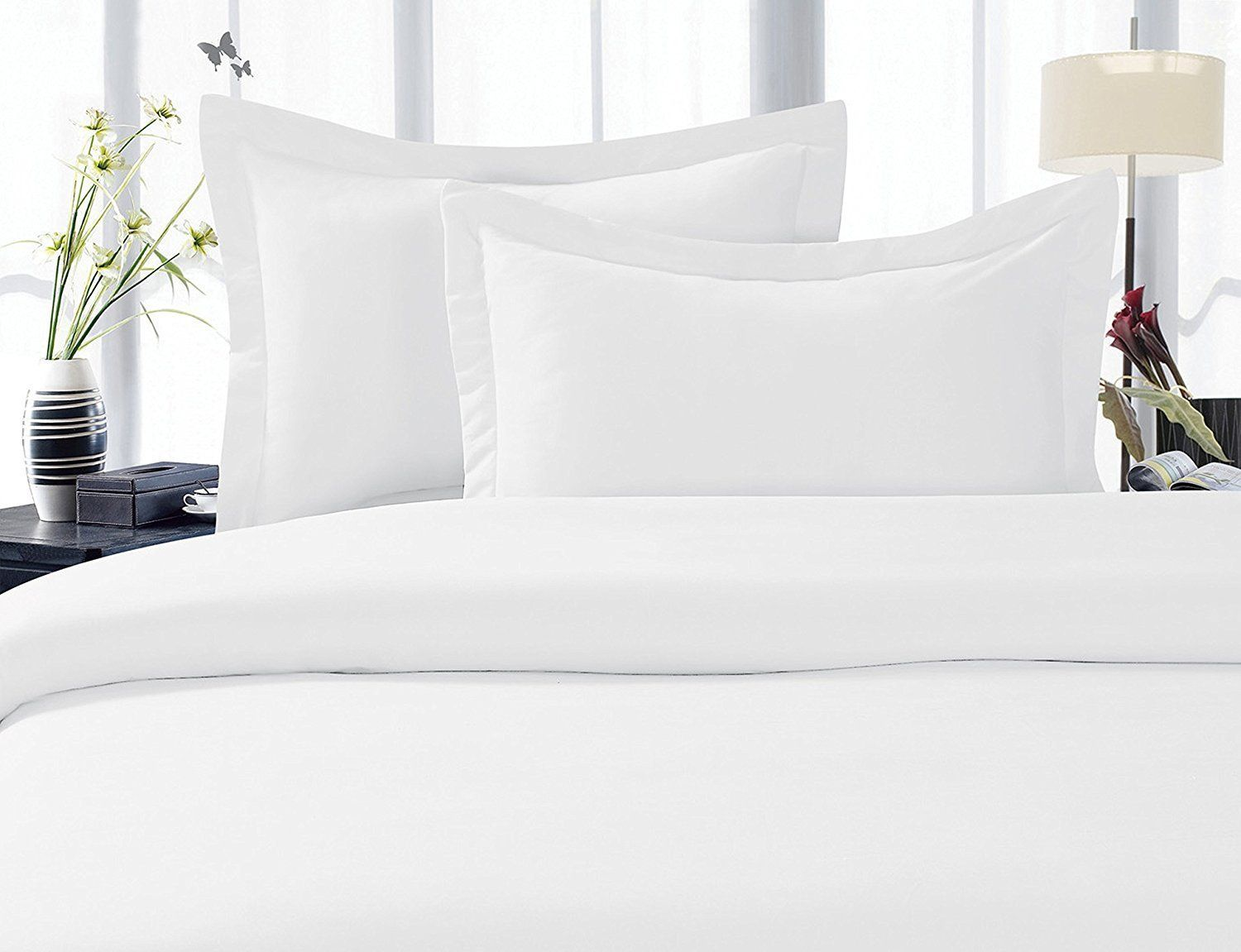 Duvet Cover Set King Size White Solid 1500 Thread count Egyptian Cotton