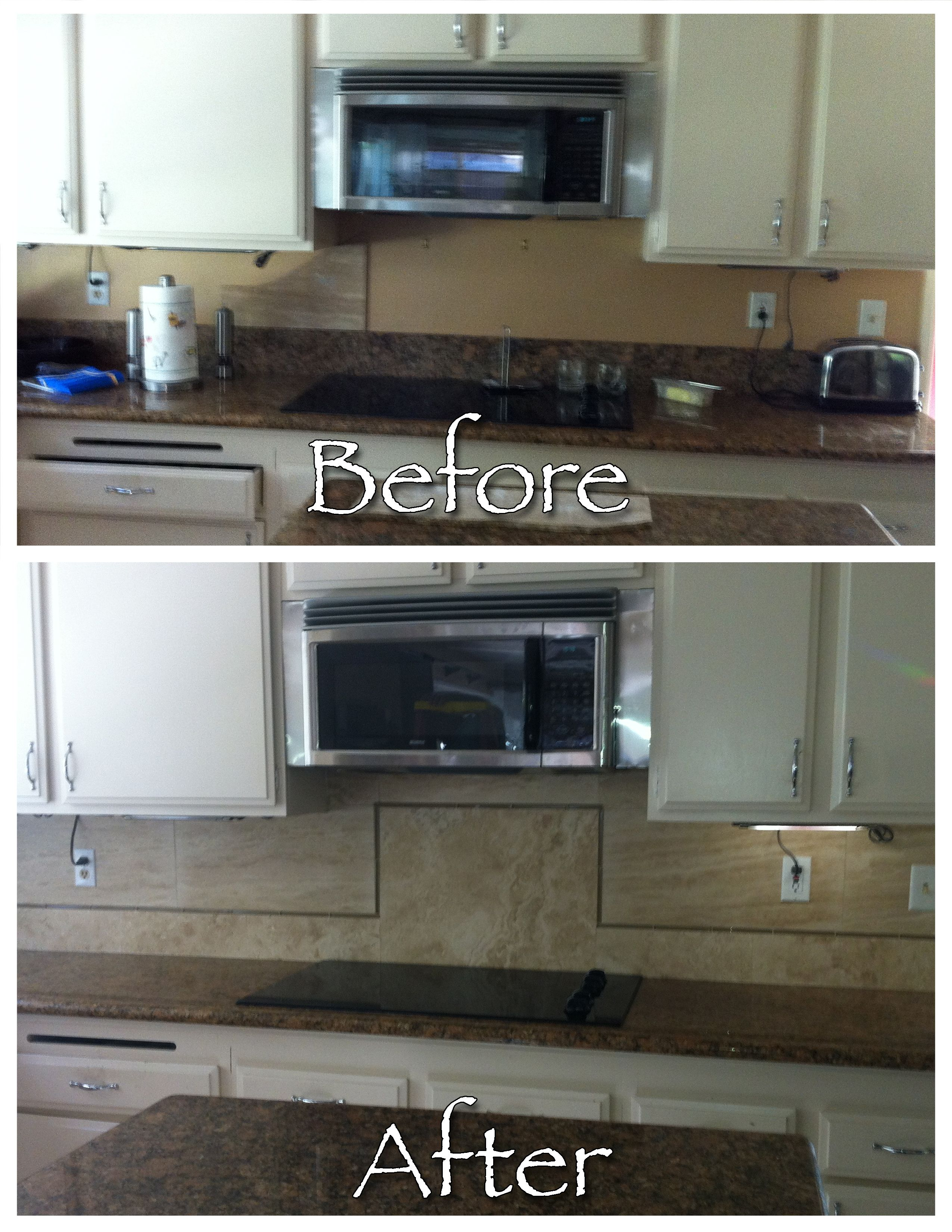 before and after this is our kitchen backsplash but it was part of