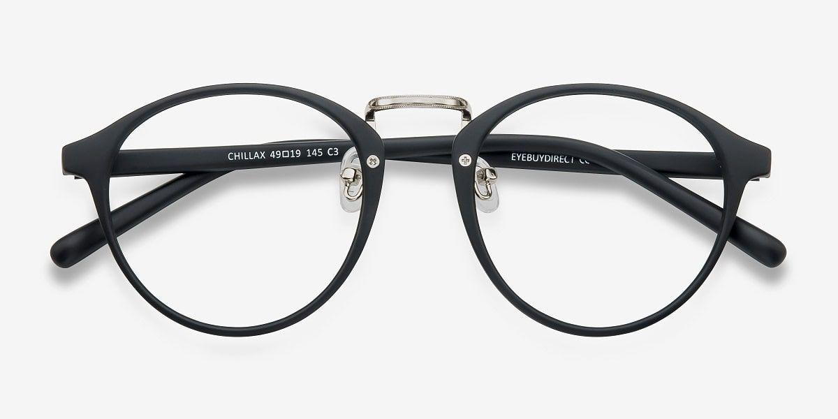 27c0e44cbf Chillax Matte Black Silver Metal Eyeglass Frames from EyeBuyDirect