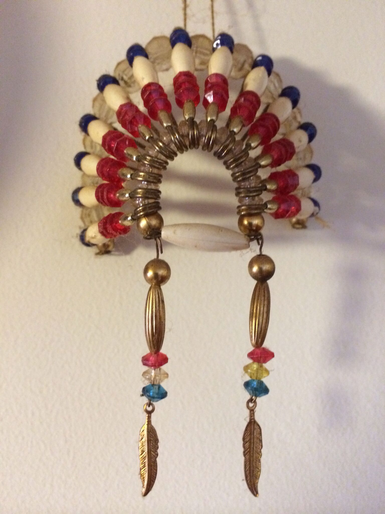ADJUSTABLE Indian American Style Green with beads Mini Feather Headdress