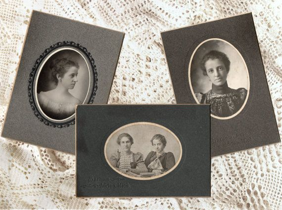 Lot of 3 Antique Oval Photographs Carte de by VintageToAntiquity