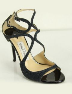 Jimmy Choo High Heel Lang ink glitter textured lame sandals pumps