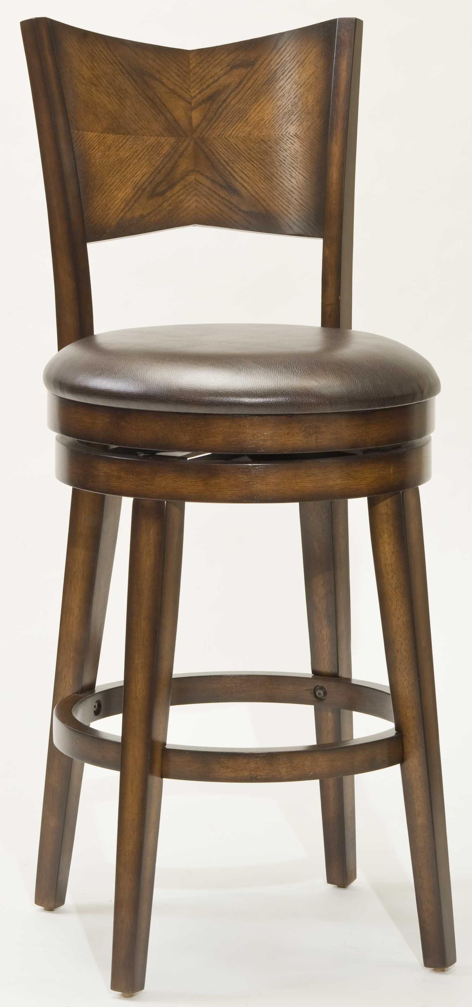 Terrific Vintage Brown Leather Round Seat Counter Height Stools With Mahogany Wooden Materials Frame To Decorate Rustic Dining Areas Furnishing Ideas