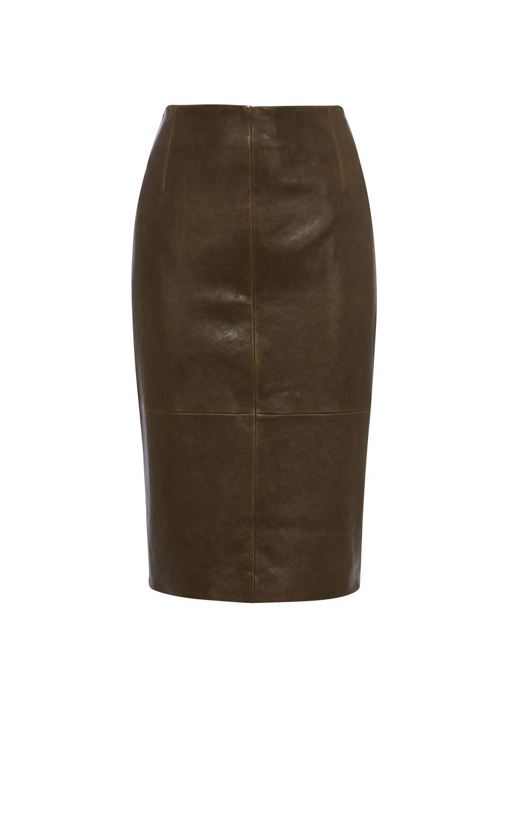 Karen Millen, LEATHER PENCIL SKIRT Khaki | Fall wardrobe ...
