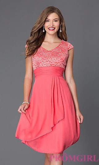 Sally Fashion Knee Length Semi Formal Dress 8762 With Cap Sleeves At