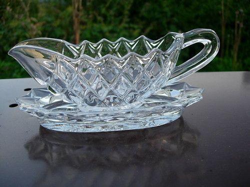Vintage Pressed Glass Sauce Boat Jug Under Plate | eBay