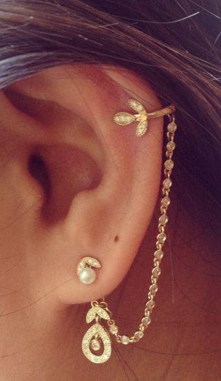 2d0defffb Leaf Chain Earrings | Shiny in 2019 | Jewelry, Chain earrings, Earrings