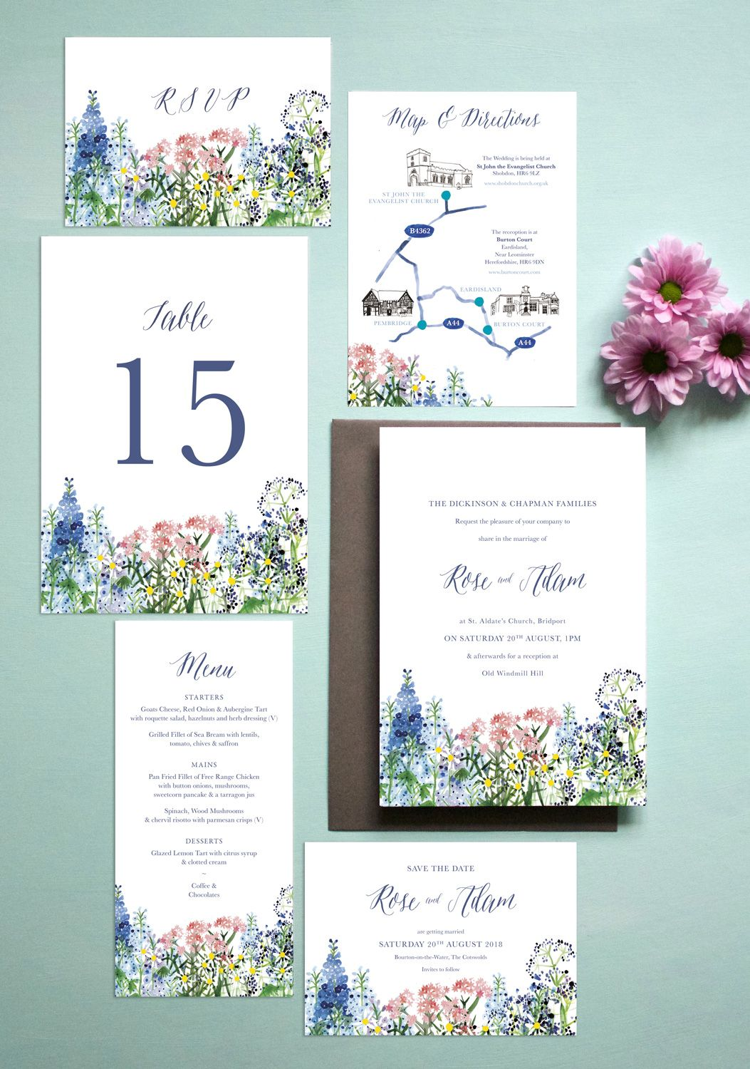 Calligraphy & Flowers Wedding Stationery | By Hollyhock Lane English summer  meado… | Flower wedding invitation, Wildflower wedding invitations,  Wildflower wedding