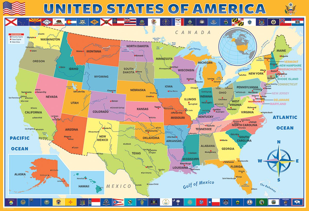 Map of the United States of America 200 pieces. Educational map ...