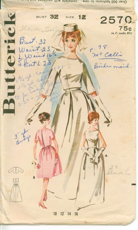 1960\'s Sewing Pattern - MAD MEN Era Bridal Gown with Bell Skirt and ...
