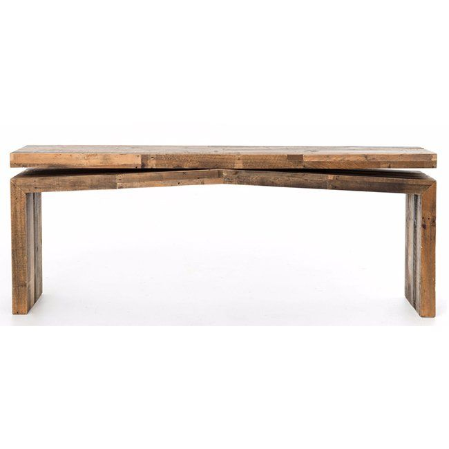 The Matthes console table has a primitive yet exacting appearance as its reclaimed wood surface delicately balances over an ever-so-slightly angled base.