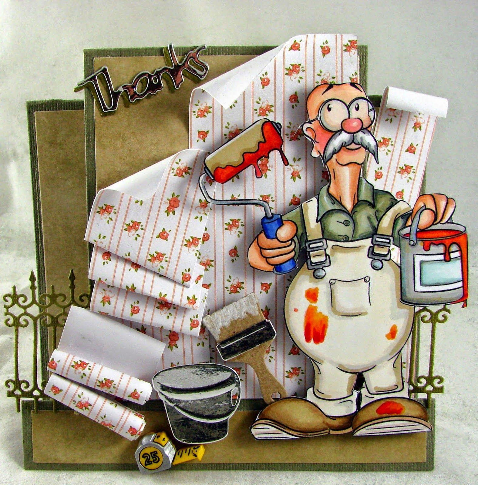 """Dunderton Decorators Ltd"" digi stamp http://www.doctor-digi.com/-dunderton-decorators-ltd-digital-stamp Card by Gudrun http://artesaniaskarten.blogspot.de/"