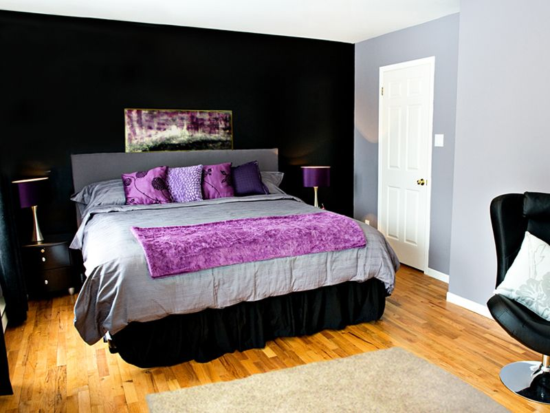 One Black Wall And The Rest Gray Withpurple Bedding Room Ideas