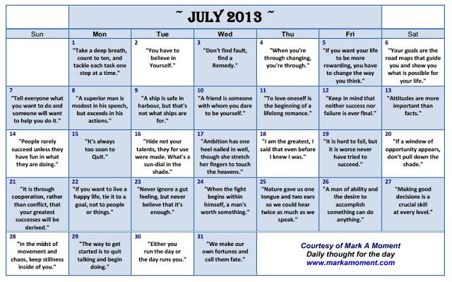Daily thoughts Motivational Thoughts Calendar Monthly - daily calendar