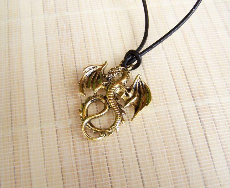 Halsbänder - Halsband Leder mit Anhänger °goldener Drache° - ein Designerstück von glanzundgeschmeide bei DaWanda