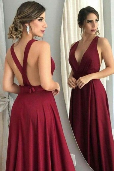 781a5deb3c2 A-Line Deep V-Neck Prom Dresses Long Burgundy Backless Evening Formal Dress  with Bowknot Party Graduation Dresses for Teens Girls  prom  promdresses ...