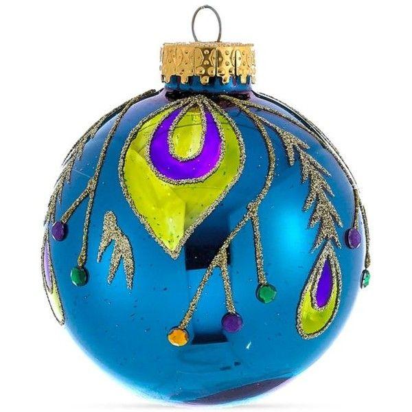 Kurt S Adler Glass Peacock Ball Ornament, 4-Piece Box Set ($10 - peacock christmas decorations