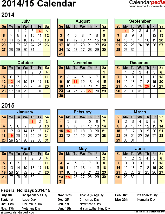 2014 Excel Calendar Template 2 Excel Template For Half Year