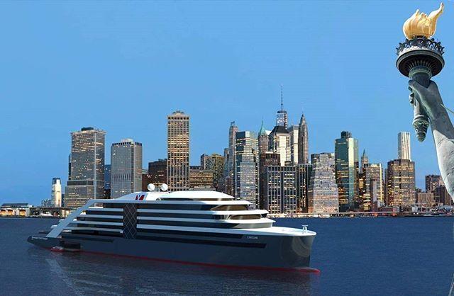 MY CAROLINE in New York #megayachtcaroline #norwegianyachtvoyages #sailinggreen