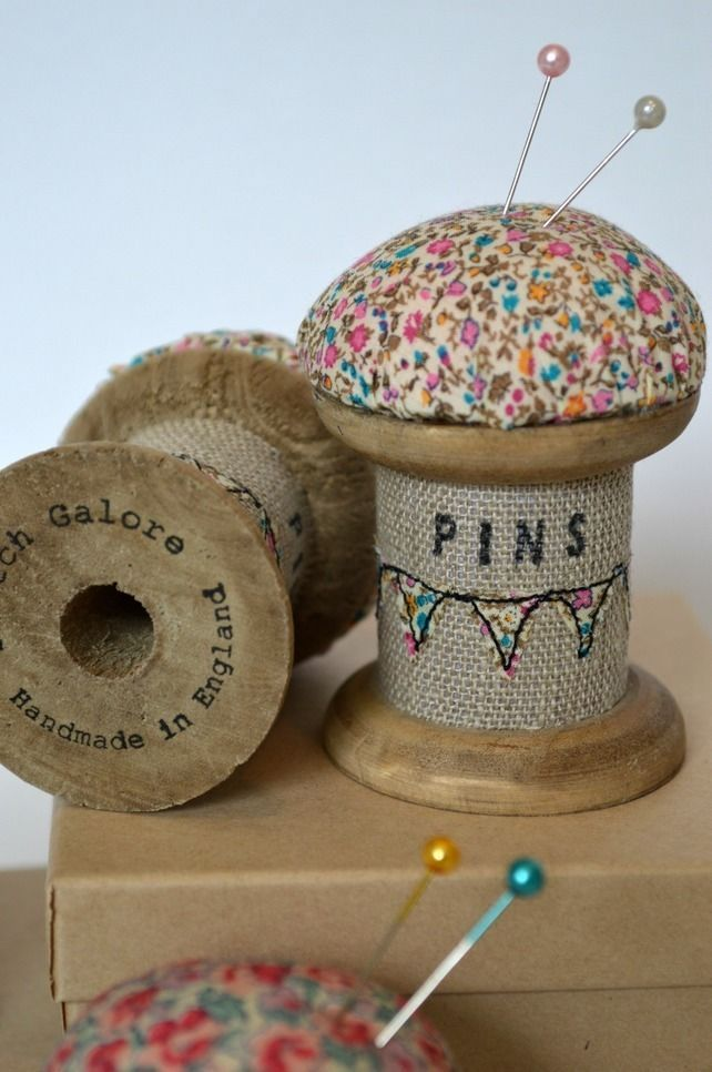 PINCUSHION wooden spool, cotton reel pincushion decorated with ...