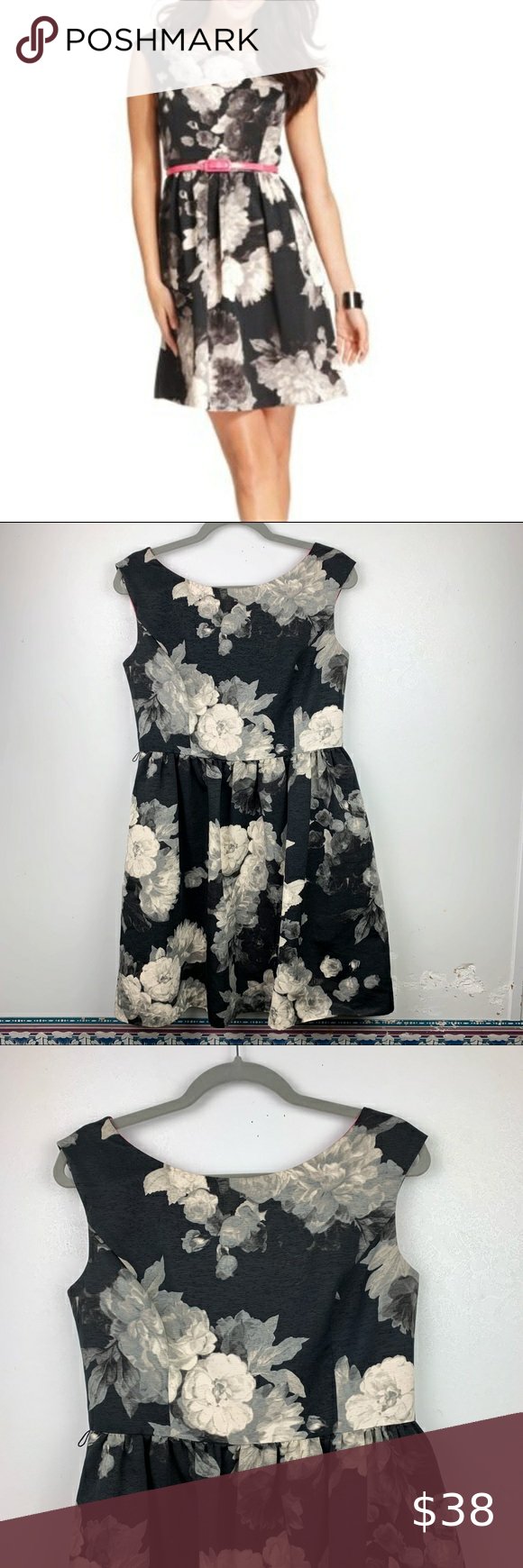 Eliza J Black Cream Floral Sleeveless Dress Pocket Sleeveless Floral Dress Pocket Dress Floral Sleeveless [ 1740 x 580 Pixel ]