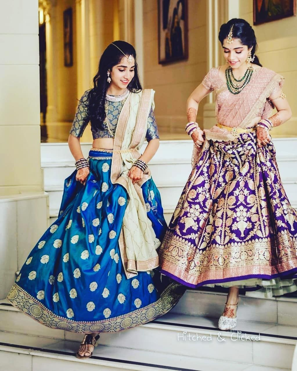 Sisters Before Misters Because They Are Soo Adorable Tag Your Pretty Sister Who Will Pose With Yo Lehenga Saree Design Saree Designs Half Saree Lehenga