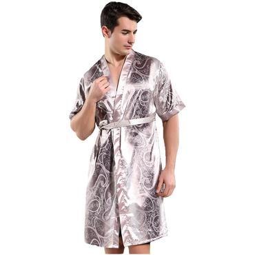 Chinese Men s Sleepwear Satin Rayon Nightwear Casual Male Robe Bathrobe  Kimono Gown Printed Flower Intimate Lingerie 0a32496b7