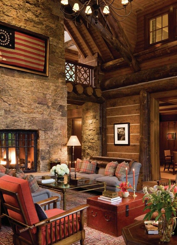 Rustic great room rustic retreat pinterest cabin and for Rustic great room