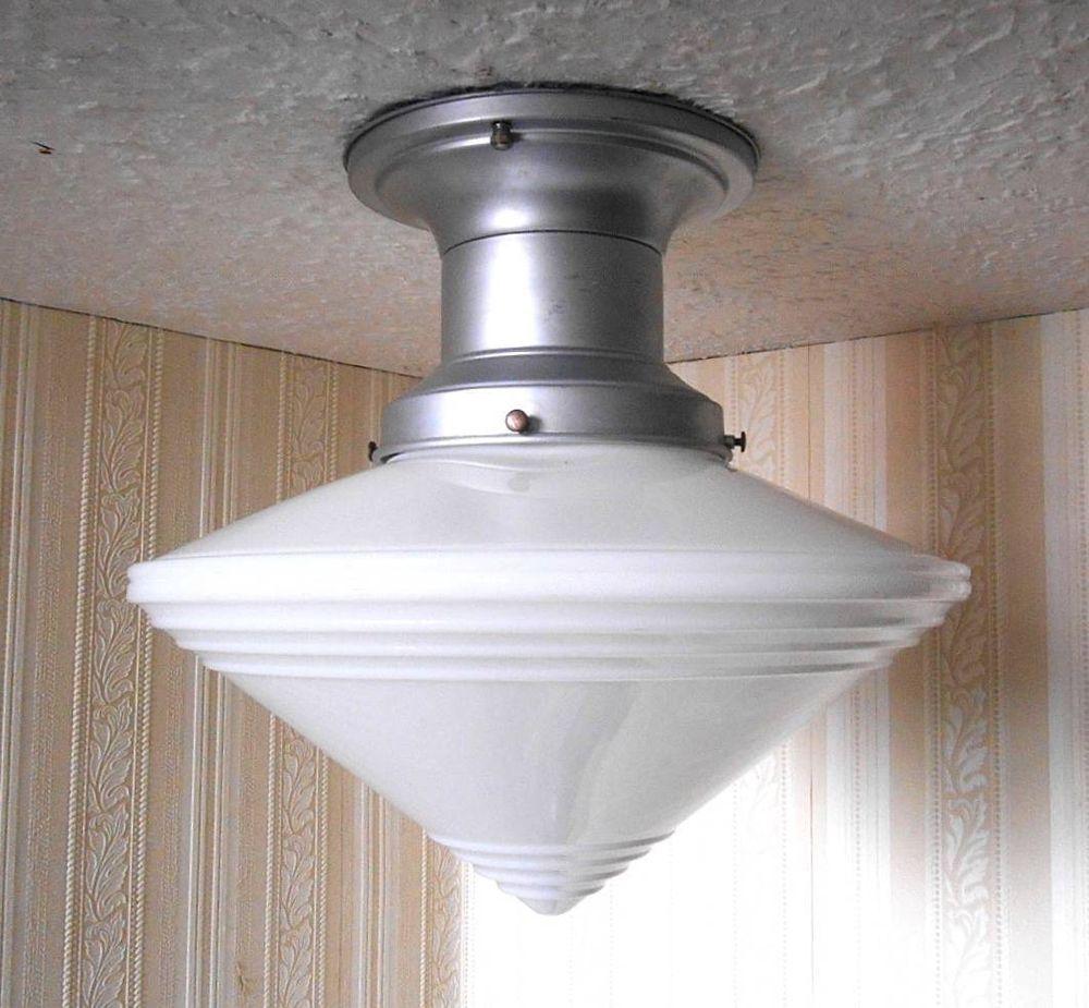 Vintage ART DECO School Store Industrial Milk Glass Hanging Ceiling Lights