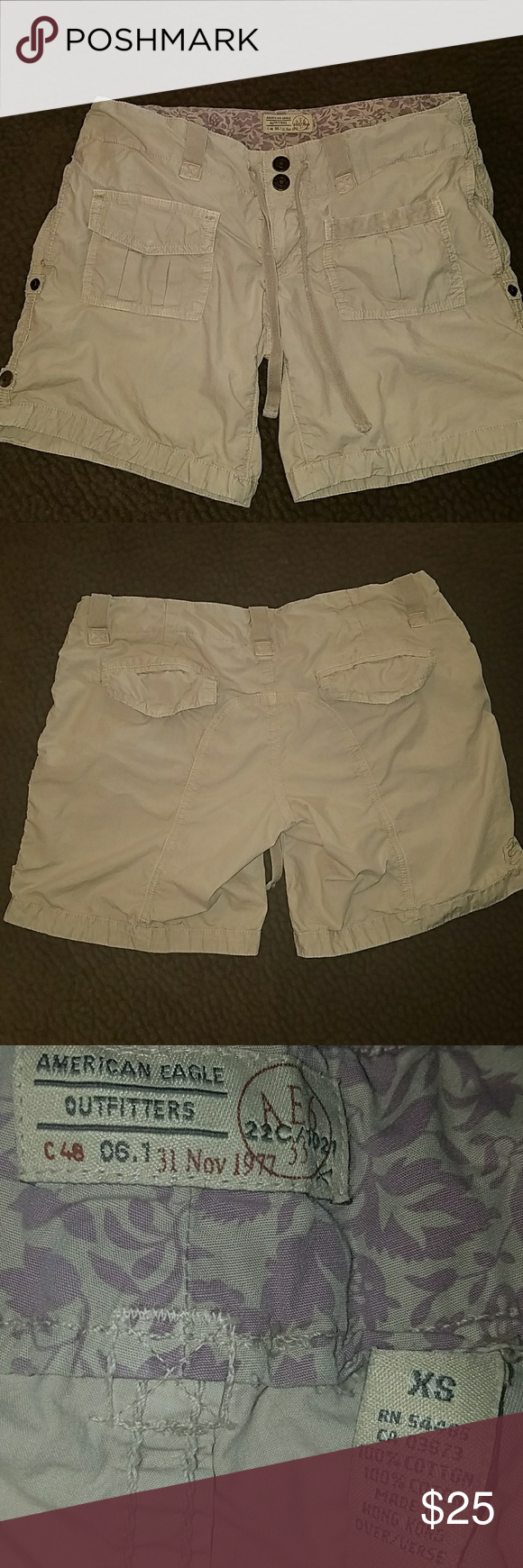 """XS American Eagle shorts Light tan colored AE shorts size XS. Laying flat 15.5"""" across with 6.5"""" inseam. Can be rolled up and buttoned shorter. No holes or stains. American Eagle Outfitters Shorts"""