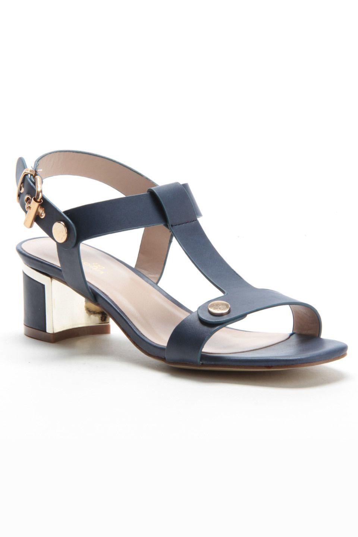 bc1b083294b SERGIO BARI - Dahlia Thick T-Strap Stacked Heel Sandals in Navy ...