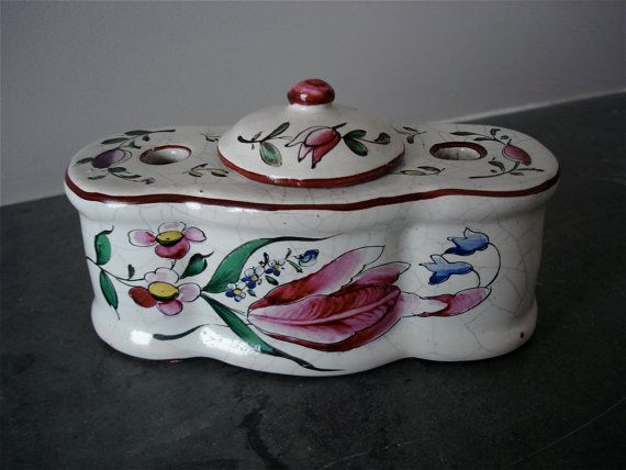 19th C French Faience Inkwell by UnJourGeorges on Etsy