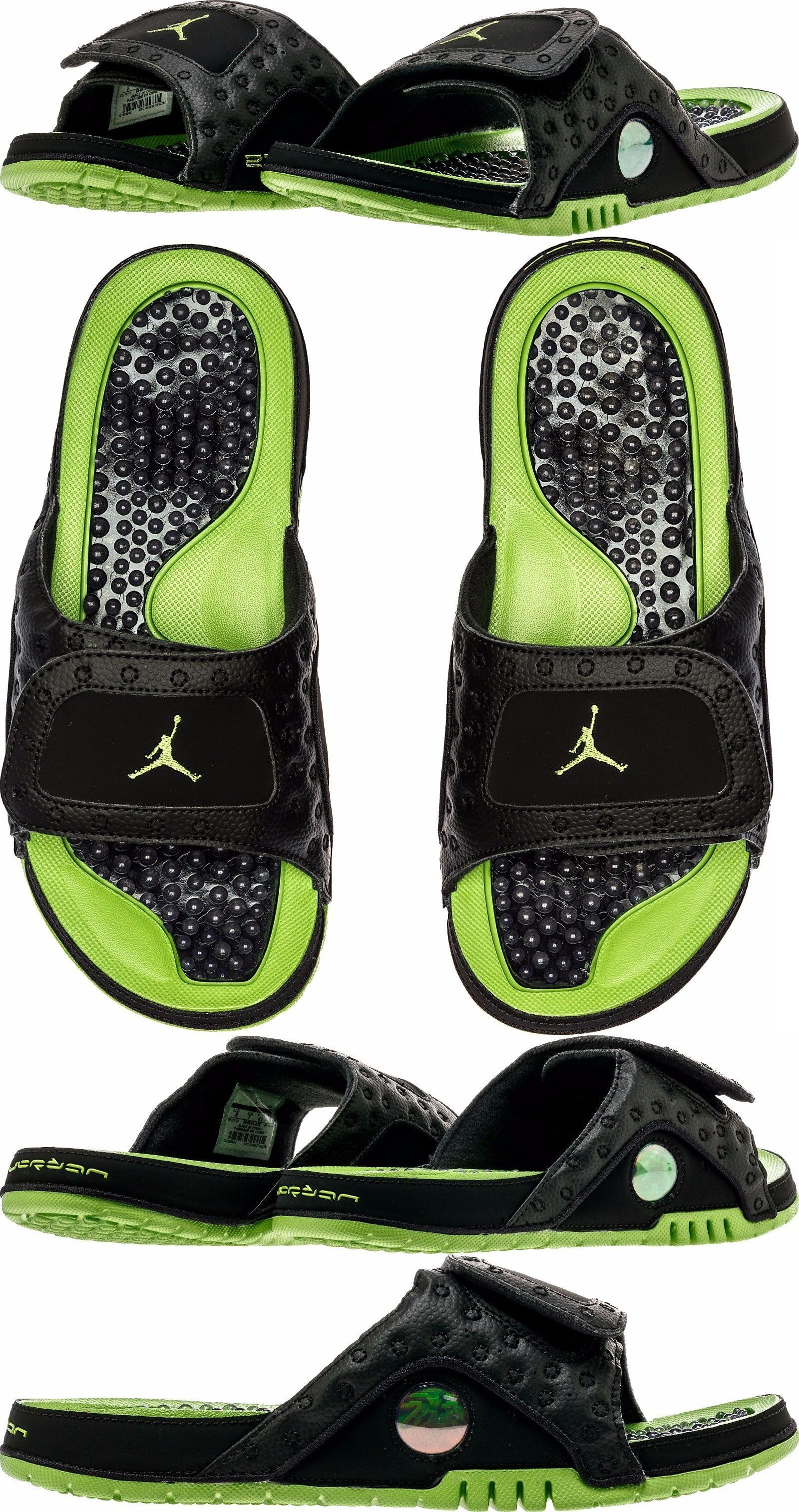 424008c3037 Sandals and Flip Flops 11504: [684915-025] Men S Air Jordan Hydro 13 Xiii  Retro Black Altitude Green 8-13 Nib -> BUY IT NOW ONLY: $57.99 on eBay!
