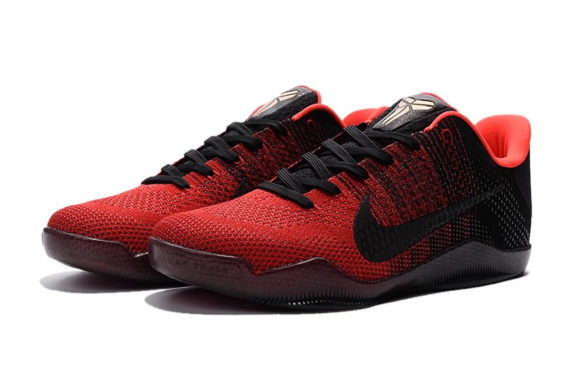 Black · Nike Kobe 11 XI Elite Flyknit Achilles Heel Black Red Shoes