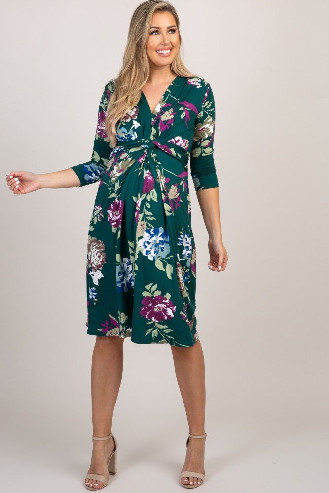 1984205ba7f2d Forest Green Floral 3/4 Sleeve Knot Front Maternity Midi Dress in ...