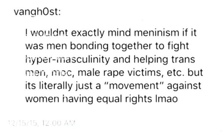 be helpful if it were like that Yes it would As long as it didnt oppose feminism Meninists and feminists if thats what meninists are could fight more human rights togethe...
