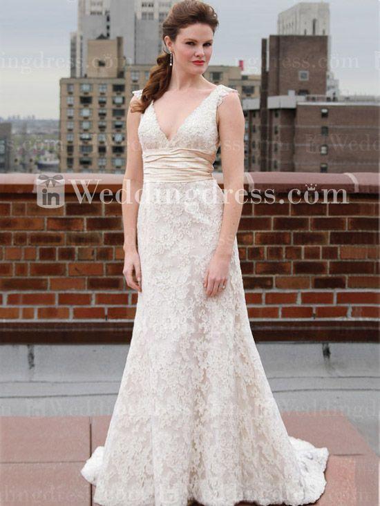 romantic v neck lace plus size wedding dress ps179