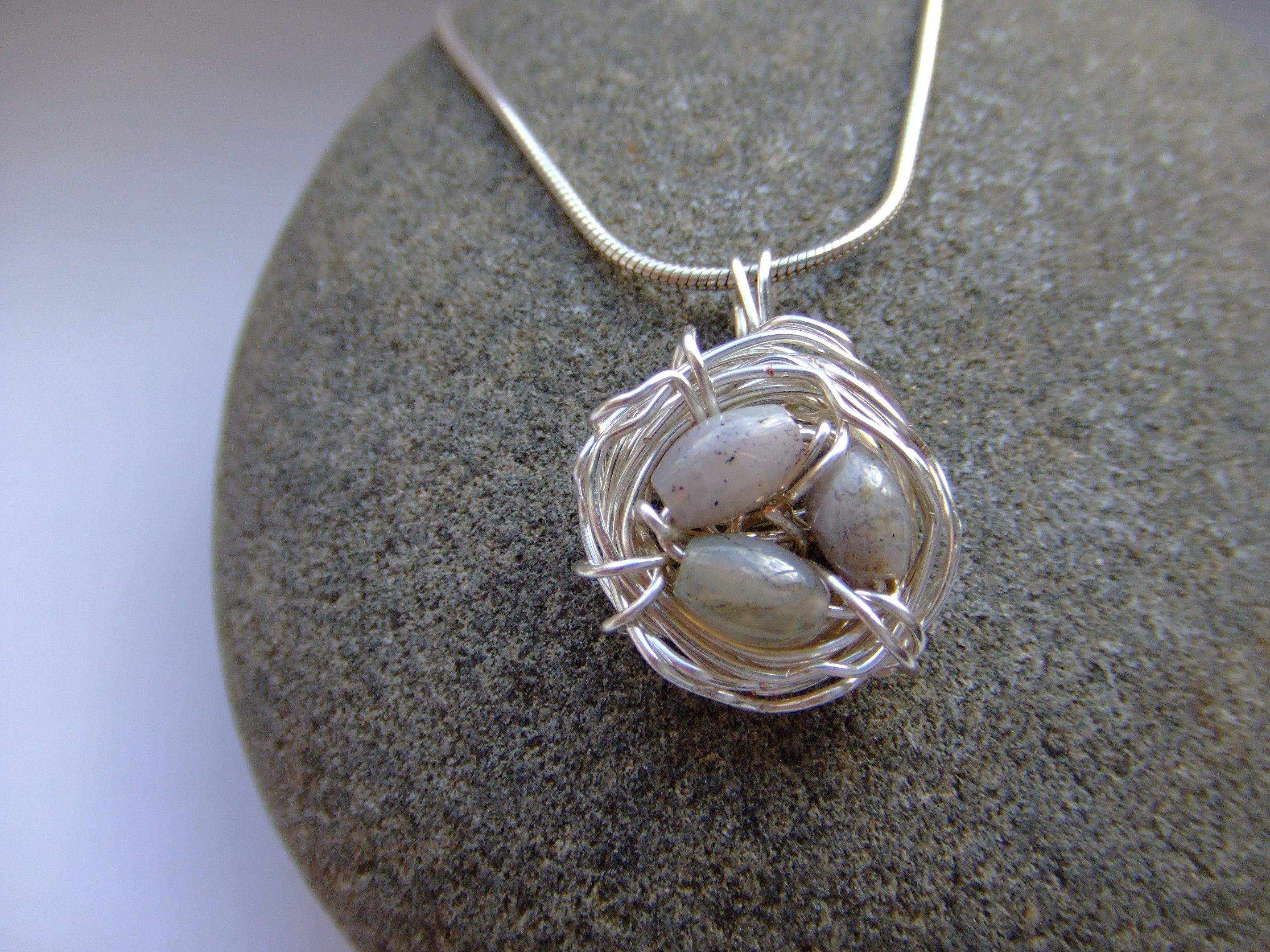 Jasper and silver plated wire birds nest pendant my wire jewellery jasper and silver plated wire birds nest pendant aloadofball Choice Image