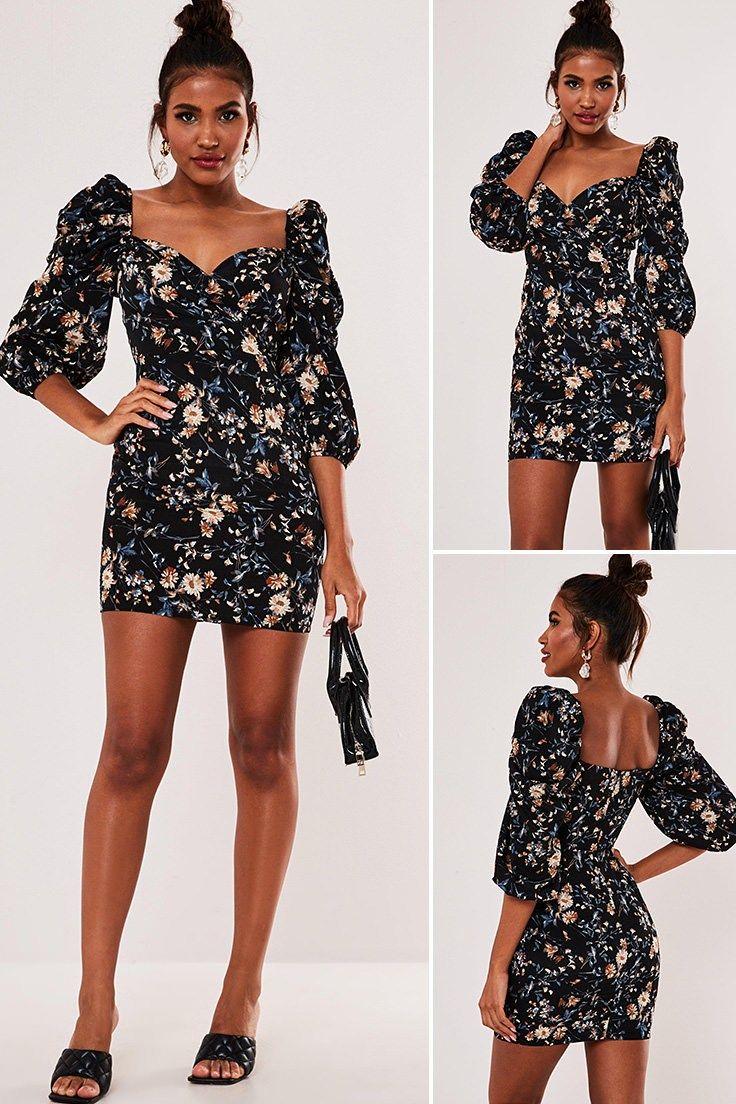 Black floral puff sleeve mini dress mini dress with