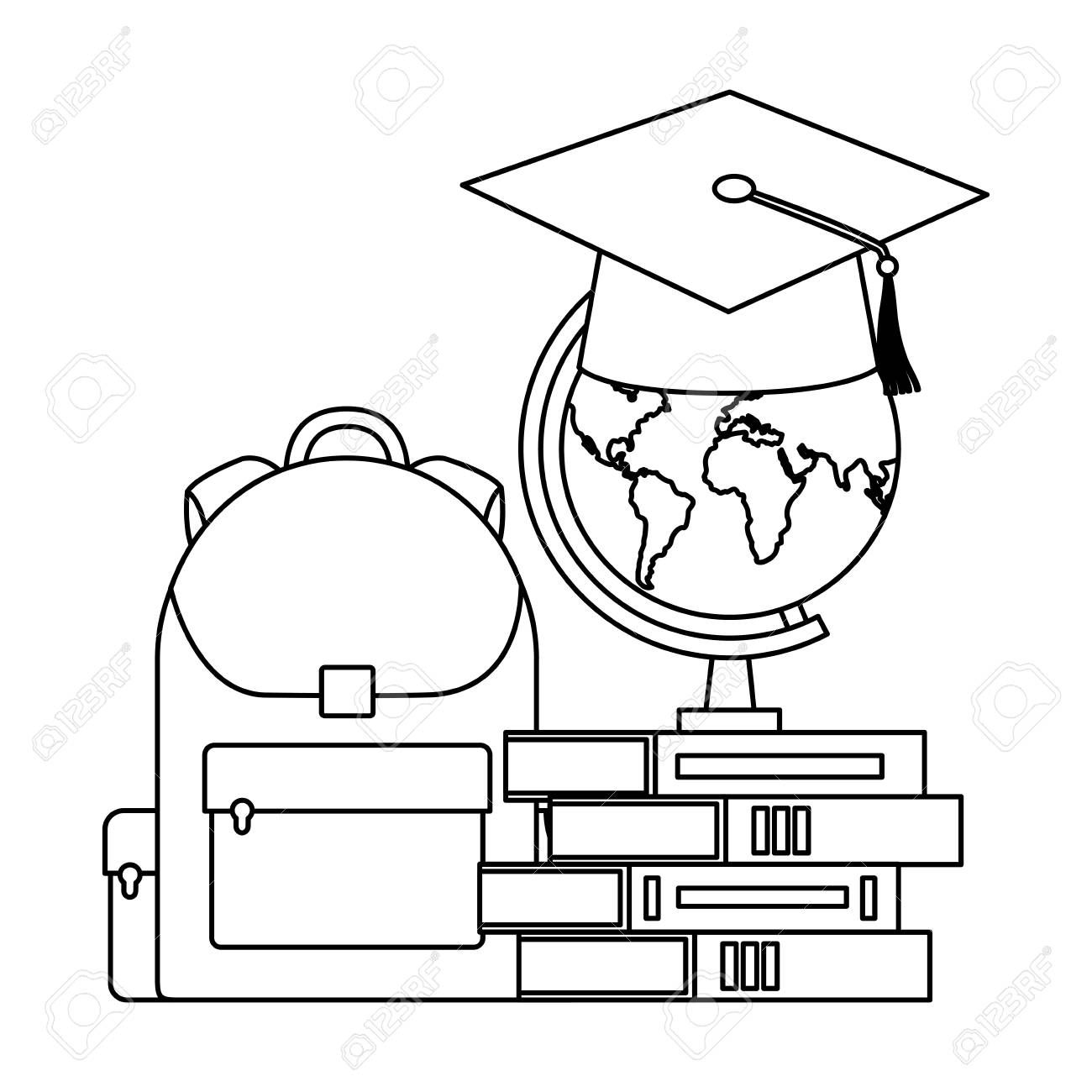graduation hat map bag and books back to school vector