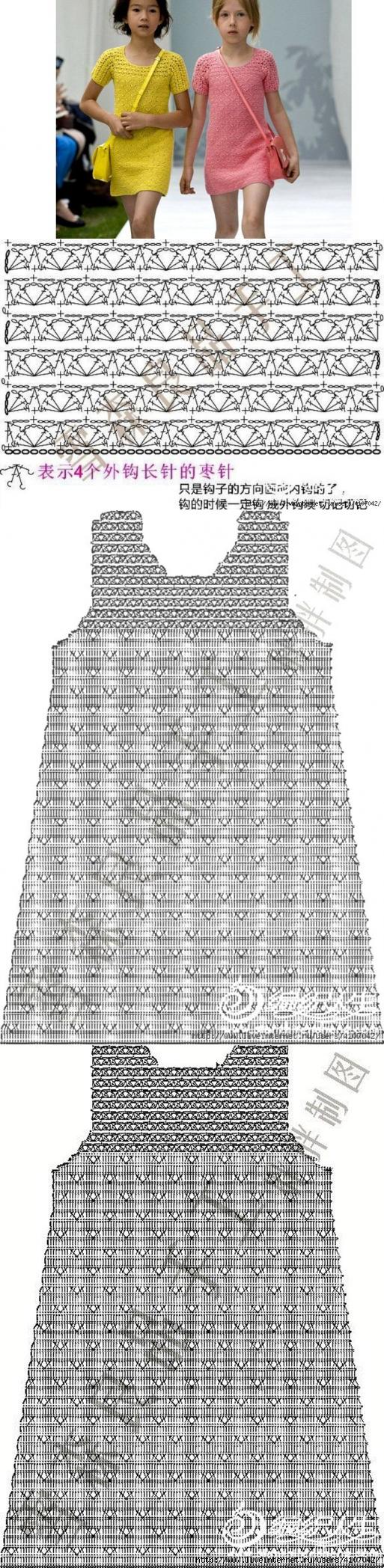 Платье для девочки. Крючком. Схема