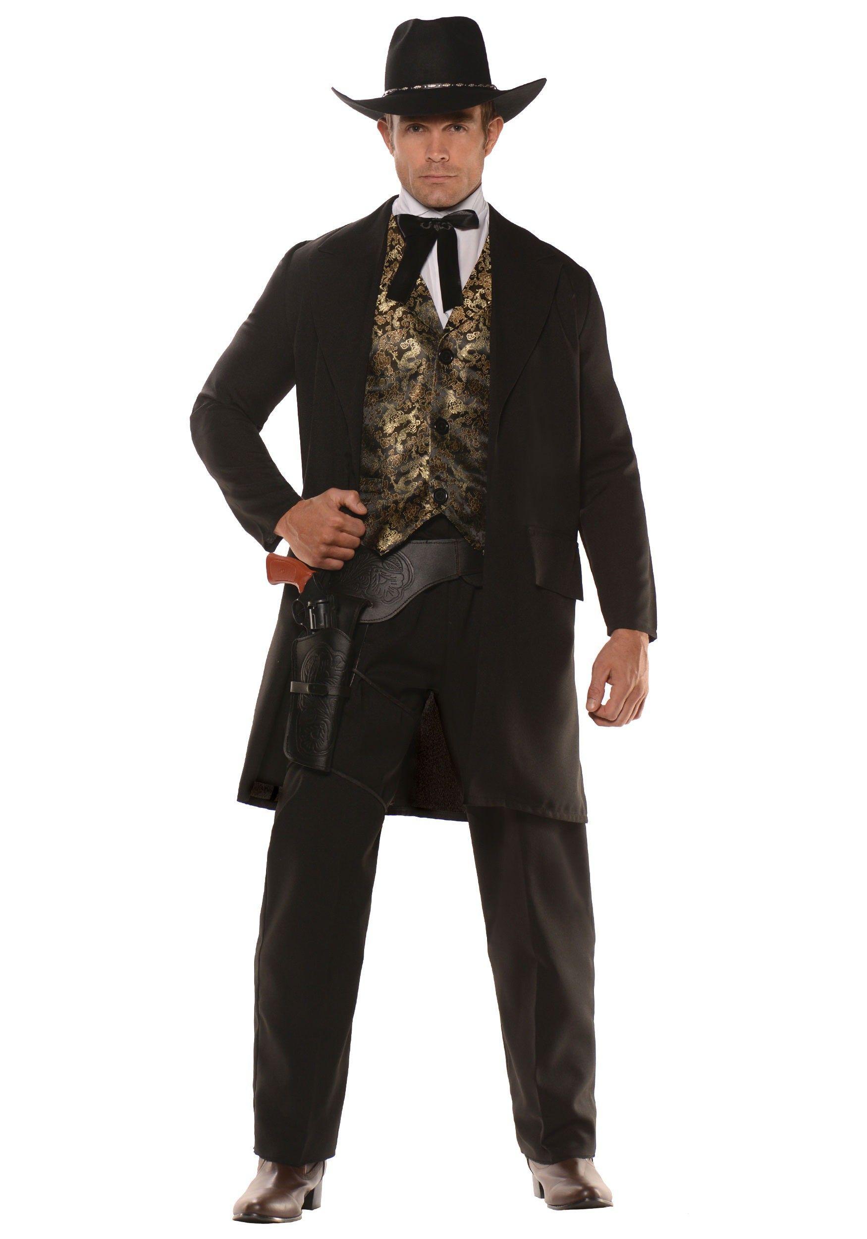 Men/'s Brown Authentic Fancy Dress Western Gunslinger Cowboy Poncho Stag Theme Do