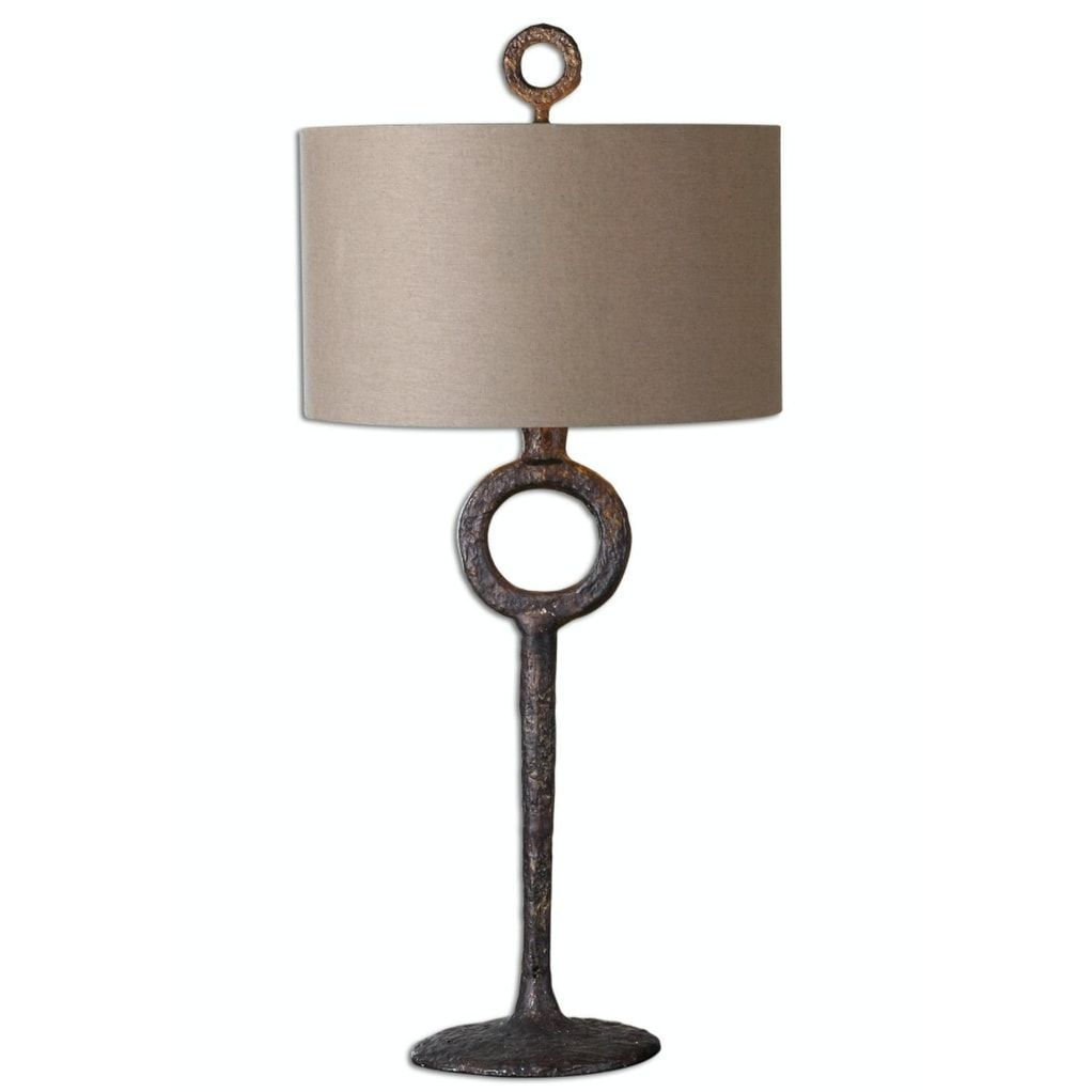3475 Carrill Hammered Cast Iron Rust Bronze Table Lamp With Beige Linen Shade