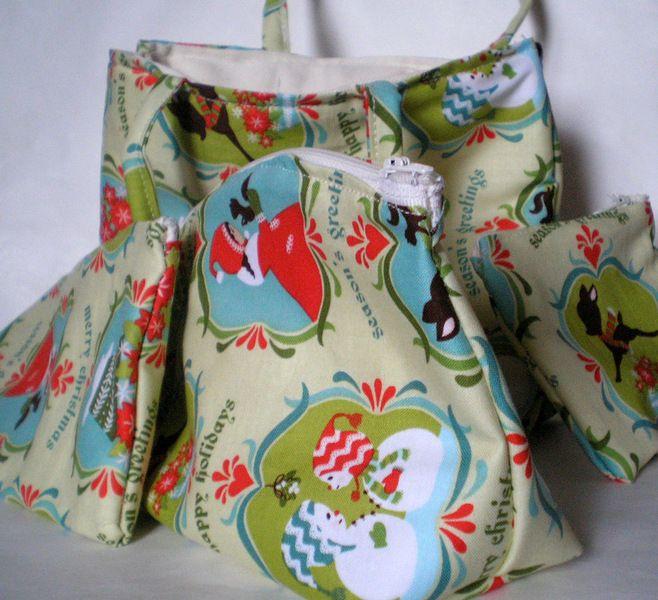 bag, cluch , purse an beautycase with Christmas fabric