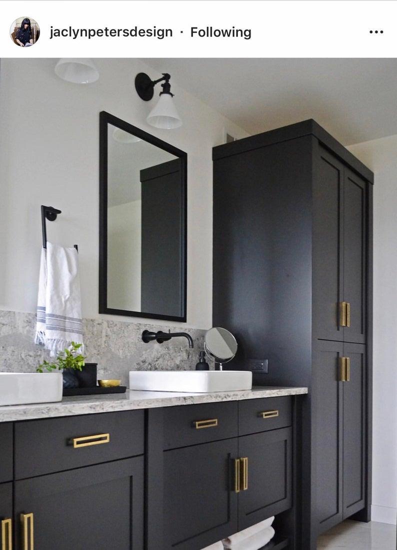 Brass Drawer Pull Linea In Aged Brass Drawer Etsy Bathroom Inspiration Bathroom Interior Design Bathroom Design [ 1100 x 794 Pixel ]