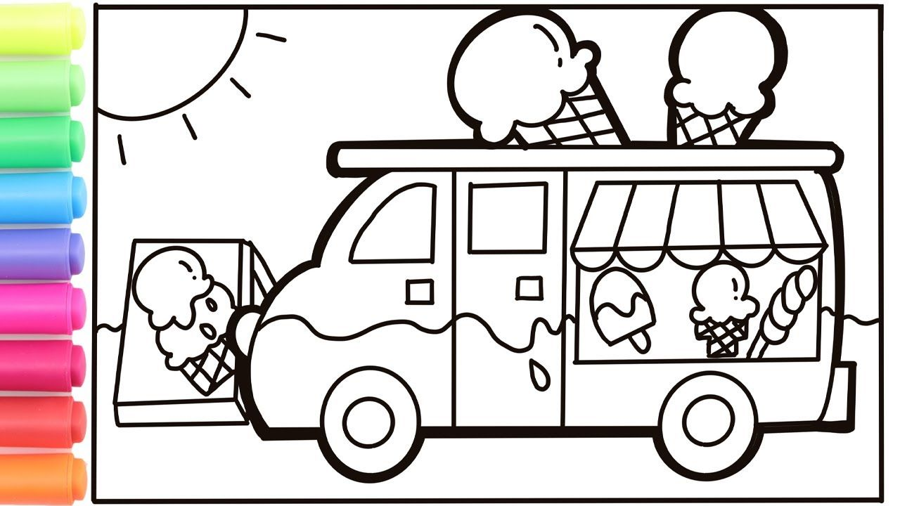 How To Draw An Ice Cream Truck For Kids Ice Cream Truck Drawing And Co Ice Cream Truck Coloring Pages For Kids Ice Cream