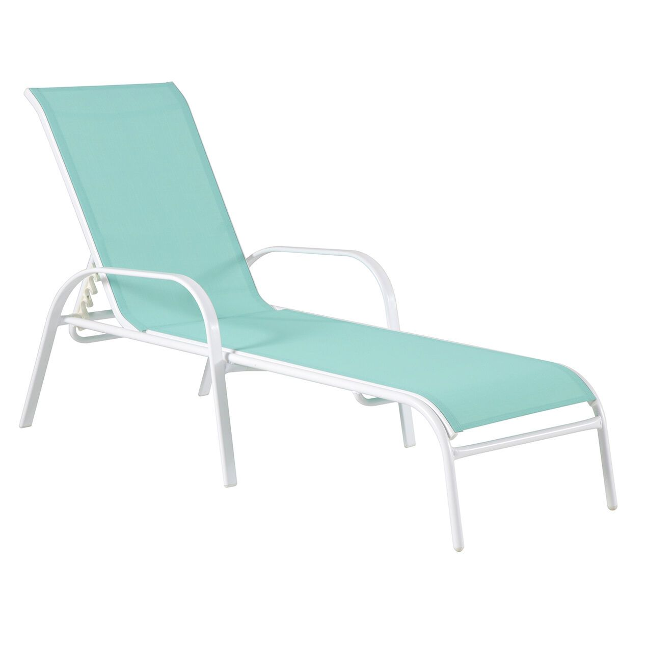 Steel-Frame Stackable Sling Chaise Lounge, Aqua/White in ... on Living Accents Sling Folding Chaise id=17596