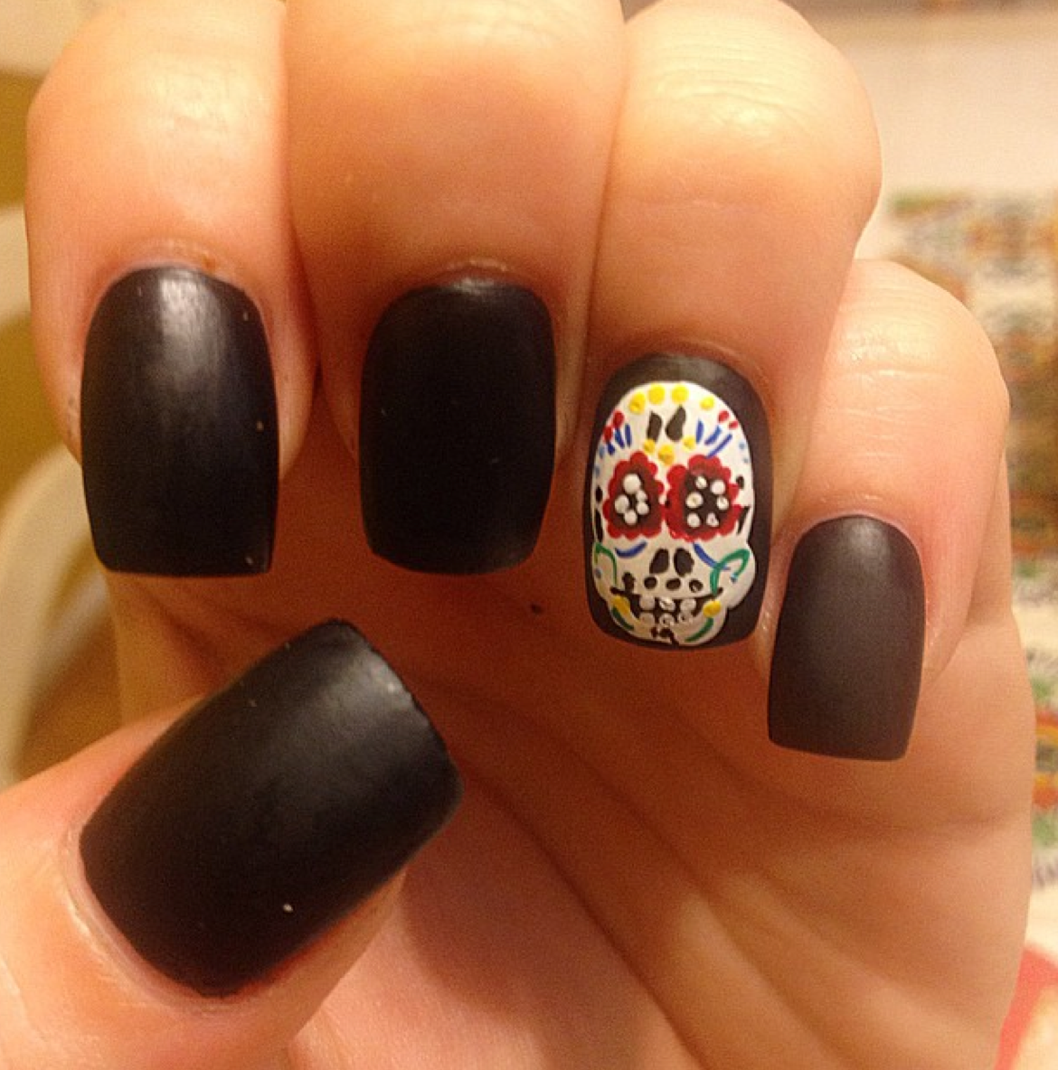 Matte black nails with sugar skull decal !