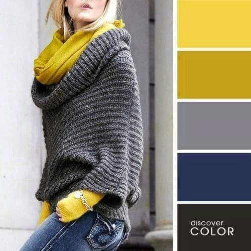 Negro Azul Plomo Gris Amarillo Mostaza Ocre Paleta Colores Style