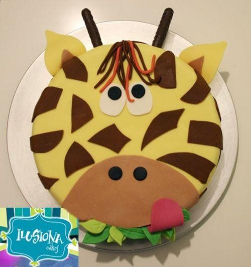 Zoo ANimal Safari Jungle Party Giraffe cake!